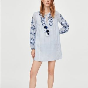 Zara sky blue embroidered tunic dress